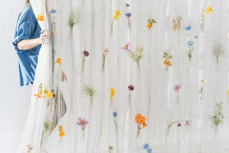 Flowery Paper Curtains - Akane Moriyama's 'Draped Flower Curtains' Leave Spaces for Fresh Flowers