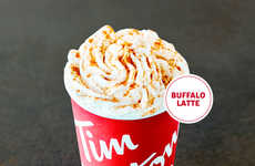 Buffalo Sauce Lattes - Tim Hortons' 'Buffalo Latte' is Topped With a Savory Sauce Garnish
