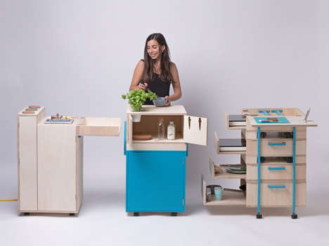 Modular Collapsible Kitchens - 'The Liberation of the Kitchen' Project Features Flexible Fixtures