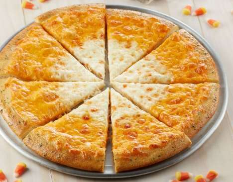 Candy-Inspired Pizzas - The Chuck E. Cheese Candy Corn Pizza Looks Like the Classic Treat