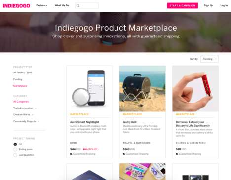 Crowdfunded Product Marketplaces - 'Indiegogo Marketplace' is a Place to Purchase Inventive Products
