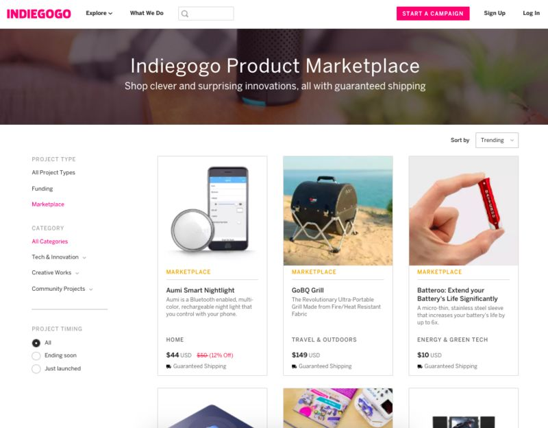 Crowdfunded Product Marketplaces