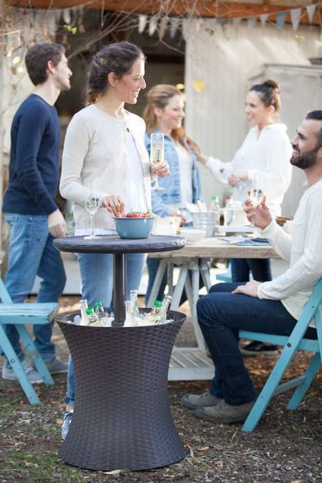 Cooler-Embedded Patio Tables