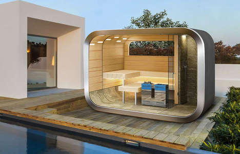 Private Outdoor Sauna Capsules - The Wellness Capsule Modular Outdoor Sauna Maximizes Outdoor Space