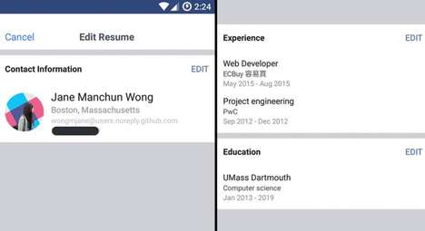 Work Histories Social Features - Facebook is Testing a Resume Feature to Help People Find Jobs