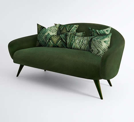 Gemstone-Inspired Sofas - The Gorgeously Green Jade Sofa Features a Strong Silhoutte