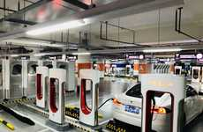 Mass Car-Charging Stations - Tesla's Supercharger Station Can Accommodate 50 Vehicles