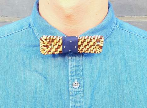 Colorful Rattan Bow Ties - Racso J's Unique Accessories Allow Wearers to Express Their Personalities