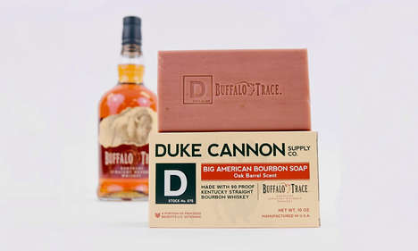 Masculine Bourbon Bar Soaps - The Duke Cannon Supply Co. Big American Bourbon Soap is Artisanal