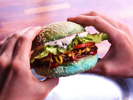 Halloween Bug Burgers - Huxtaburger's Bugstaburger Features Ant Mayo, Blue Buns & Roasted Mealworms