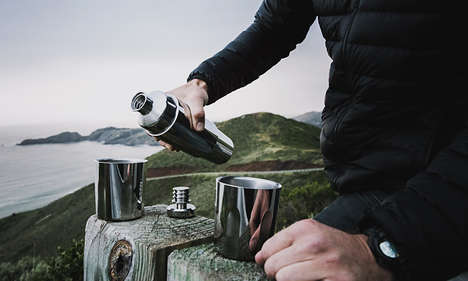 Portable Mixology Flasks - The Firelight Flask Features Tumblers to Share Drinks with a Friend