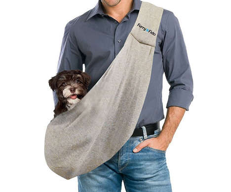 Secure Ergonomic Pet Slings - The 'FurryFido' Pet Sling Carrier Keeps Dogs or Cats by Your Side