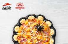 Black-Crusted Spider Web Pizzas - The Pizza Hut China's Wow Black Pizza is Dyed with Cuttlefish Ink