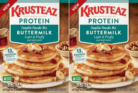 Plant Protein Pancake Mixes - The Krusteaz Buttermilk Protein Pancake Mix Features Wheat Protein