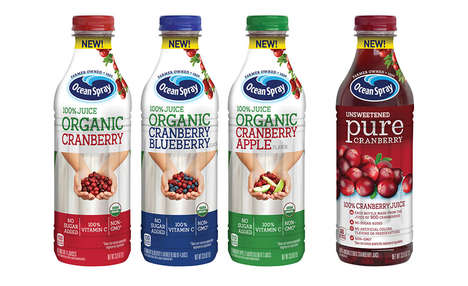 Preservative-Free Bottled Juices - The Ocean Spray Organic 100% Juice Blends Have No Added Sugars