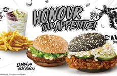 Blackened Bun Chicken Burgers - The McDonald's Singapore Ninja Chicken Burger Features Nanban Sauce