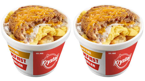 Savory QSR Breakfast Bowls - The Krystal Loaded Hashbrown Scrambler Breakfast Bowl is Convenient