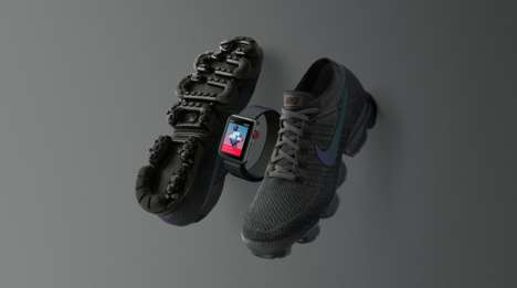 Sneaker-Matching Smartwatches - The Midnight Fog Edition Apple Watch Nike+ Series 3 is Stealth