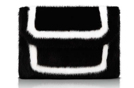 Graphic Mink Clutches - Baraboux' 'E6' Accessory Range is Accented with Linear Details
