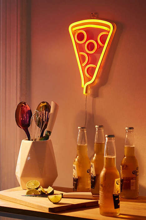 Novelty Pizza Lighting - Urban Outfitters Neon Pizza Lamp is Inspired by 90s Nostalgia