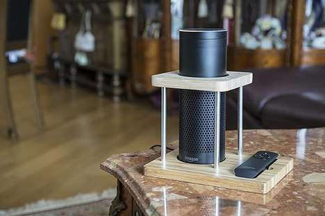 Bamboo Smart Speaker Stands - The Wasserstein Bamboo Amazon Echo Stand Adds Natural Texture