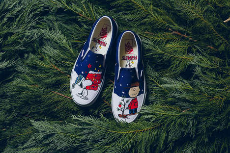 Cartoon Christmas Sneakers - Vans' 'Classic Slip-On' Was Updated with a Festive Charlie Brown Theme