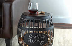 Cork-Storing Side Tables - The Wine Enthusiast Barrel Cork Catcher Accent Table is Customizable