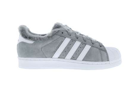 Fuzzy Winter Lace-Up Sneakers - This Adidas Originals Superstar Sneaker is Lined with Fur