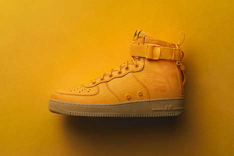 Leather Mustard-Hued Sneakers