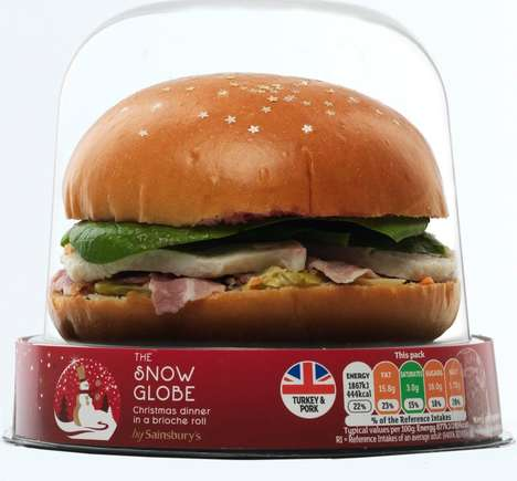 Snow Globe Sandwich Packaging - Sainsbury's Christmas Sandwich is Presented Like an Ornament
