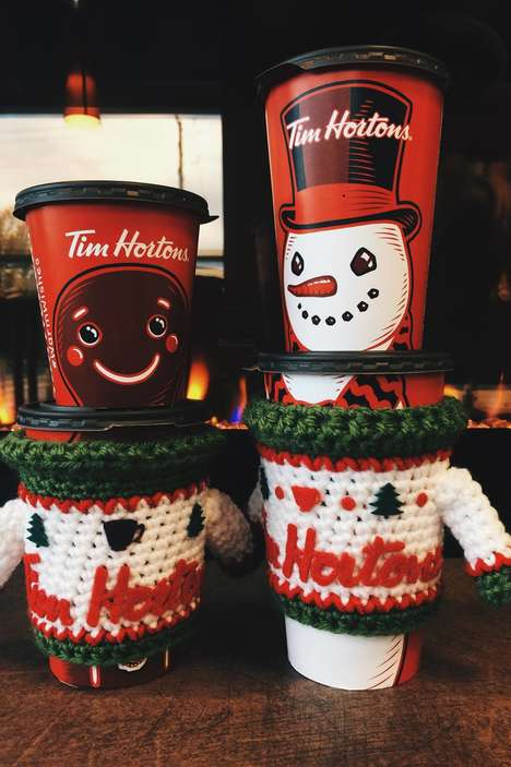 Takeaway Cup Koozies - Tim Horton's is Offering Free Ugly Sweater Koozies with Lattes