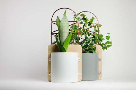 Dual-Pocketed Copper Planters - Copper Pockets Let You Display Two Plants in One Planter