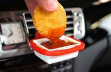 Vehicular Dipping Sauce Holders - The 'DipClip' Secures Sauces to Your Car's Vent