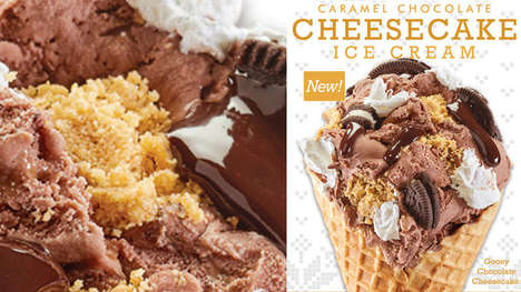 Frozen Holiday Desserts - The Cold Stone Creamery Carmel Chocolate Cheesecake Ice Cream is Indulgent