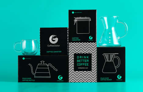 Illustrated Coffee Gear Branding - Coffee Gator's Brand Identity Resembles Minimalist Infographics