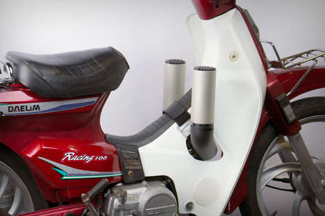 Cold Weather Motorcycle Heaters - The 'B-HEAT' Directs Exhaust Heat Towards the Rider
