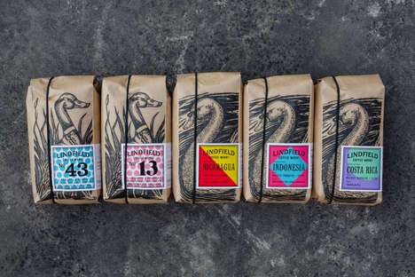 Avian-Themed Coffee Bags - Lindfield Coffee Works' Packaging is Artful and Eco-Friendly