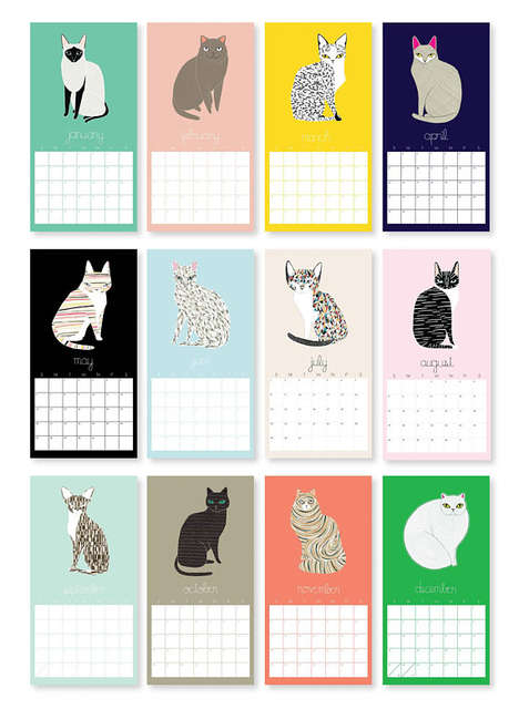 Illustrated Cat Calendars - Gingiber's Animal-Themed Calendar for 2018 is Artfully Vibrant