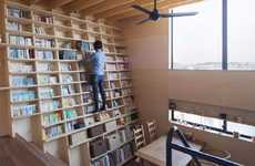 Leaning Book-Filled Homes