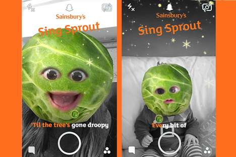 Festive Karaoke Selfie Lenses - Sainsbury's Created a Singing Brussels Sprout Lens on Snapchat