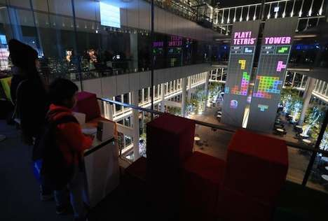Projected Puzzle Games - Visitors to Japan's Abeno Harukas Can Play Tetris on a Building