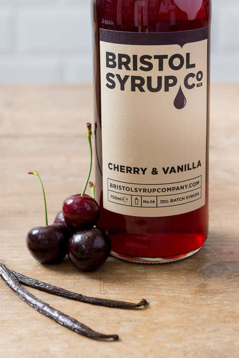 Sophisticated Cocktail Syrup Bottles - The Bristol Syrup Company Features Minimally Designed Bottles