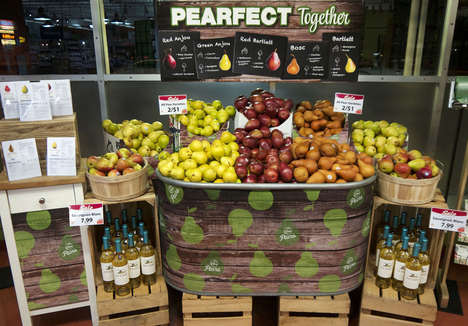 Award-Winning Fruit Displays - Neighborhood Co-op Grocery's Display Showcases Pears, Wine and Cheese