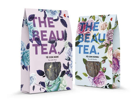 Floral Tea Branding - Beautea's Branding Reflects the Company's Name