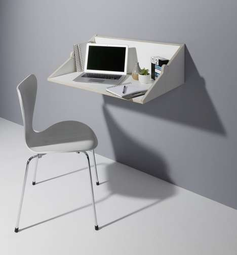 Transforming Wall-Mounted Desks - The 'Twofold' Wall Shelf Desk Increases Space Efficiency