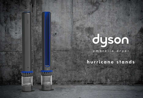 Vacuum Brand Umbrella Dryers - The Conceptual Dyson 'Hurricane Stands' Prevent Mold and Mildew