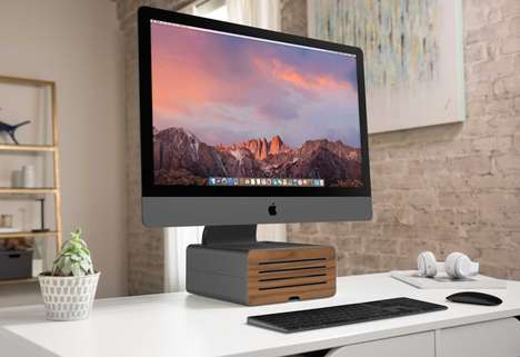 Elevated Storage Computer Stands - The Twelve South HiRise Pro Keeps Desks Organized and Neat