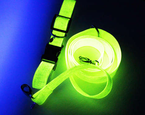 Apple-Based Dog Accessories - This Vegan, Glow-in-the-Dark Dog Set is Made from Apple Leather