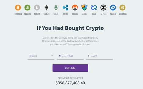 Cryptocoin Calculation Tools - 'If You Had Bought Crypto' Shows Profits on Bitcoin Over Time