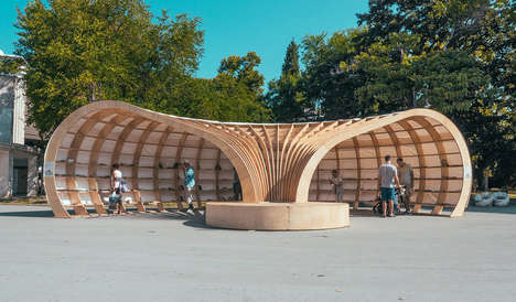 This Open Air Library Building Design is a Tactile Seafront Structure